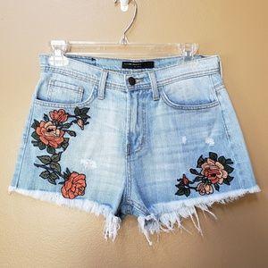 Flying Monkey embroidered flowers denim shorts